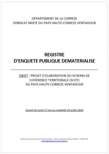 Registre dematerialise enquete publique scot